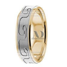 Solid 14K White & Yellow Gold Greek Patterned His / Her Wedding Band Ring