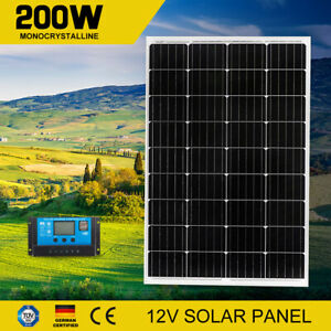 200W Solar Panel Kit Generator Camping Power Battery Charger Mono Regulator 12V