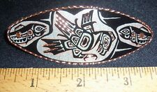 TOTEM EAGLE DESIGN -HAND ENGRAVED COPPER BARRETTE W/SILVER PLATE & BLACK ENAMEL