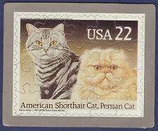 Unused Cat Stamp Puzzle Postcard. American Shorthair & Persian Cat (Scott #2375)