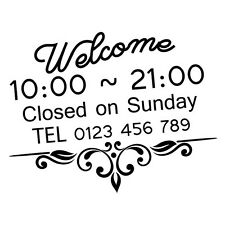 CUSTOM WELCOME TRADING HOURS TEL NUM SHOP STICKER Decal Car Vinyl Personalize...