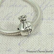 Silver Money Bag Charm - Lottery Casino Large Hole Bead fits European Bracelet
