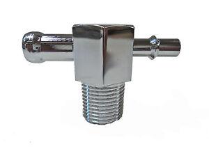 "Intake Manifold Vacuum T Fitting 1/2"" - 1/4""  Chrome Aluminum"