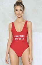Boohoo Red 'Lifeguard Off Duty' Swimsuit Swimming Costume Size 12