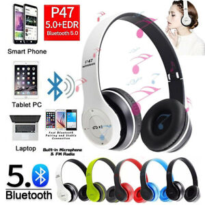 Folding Wireless Bluetooth Headphones Noise Cancelling Over Ear Headset With Mic