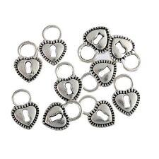 10pcs Heart Lock Beads Tibetan Silver Charms Pendant DIY Bracelet 12*17mm