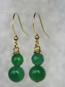 Gold Plated Green Agate Semi Precious Stone Dangle / Drop Earrings       (mx60)