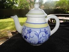 Caleca Arabesco Blue Yellow Bands Flowers Floral White Lidded Teapot