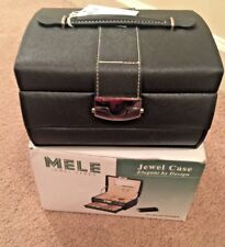 Mele & Co. Black Leatherette Jewel  Travel Jewelry Case Jewel Box with mirror