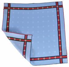 New Gucci Men's Silk Bee Pattern Red Green Web Square Pocket Handkerchief Scarf