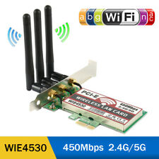 AU 2.4G/5Ghz Wireless 450Mbps PCI-E Card WiFi Network Antenna LAN Ethernet AC990