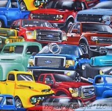 BonEful Fabric Fq Cotton Quilt Ford Big Truck Farm Boy Vtg Red Green Blue Black
