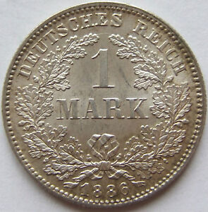Superb High Grade! 1 Mark 1886 F IN Brillant uncirculated