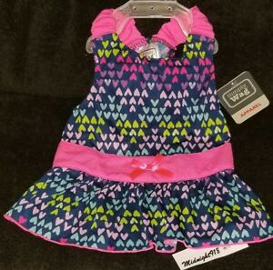 NEW SIMPLY WAG MULTI-COLOR HEARTS ALLOVER SLEEVELESS SUMMER GIRL PET DRESS. XS