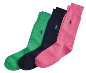POLO RALPH LAUREN RL Mens Plain Pink Blue Green 3 PAIRS Socks > UK 6-8 EU 39-42