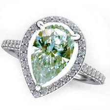 Pear Cut 925 Silver Ring 7.5 2.54 Ct Vs1.=Ice Blue White Moissanite Diamond