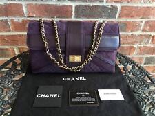RARE! Authentic Chanel Purple Suede Union Jack Mademoiselle Jumbo Flap Bag