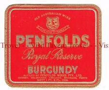 Unused 1940s AUSTRALIA Sydney (red) PENFOLDS ROYAL RESERVE BURGUNDY WIne Label