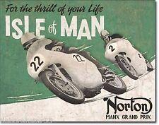 Large Vintage Style Retro NORTON Motorcycle Metal Sign Isle of Man Gift 1704