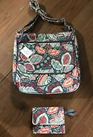 Vera Bradley Nomadic Floral Crossbody Purse Double Zip Mailbag & Wallet Lot Of 2