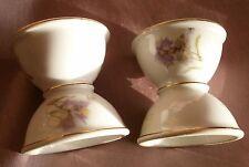 2 Coquetiers diabolo porcelaine & fleurs polychrome - Oeillets & Marguerittes