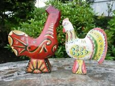 Swedish WOOD CARVED DALA ROOSTER - RARE DESIGN IN VGC + COMPANION - Sweden