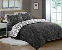 MARBLE PRINT WHITE & BLACK DUVET COVER BEDDING SET 100% COTTON 200TC DOUBLE KING