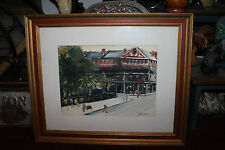 Superb Water Color Painting-Signed Tonesaint-Downtown City People Walking