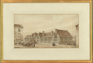 Framed Late 19th Century Watercolour - Victorian Street Scene