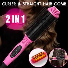 2In1 Salon Electric Ceramic Hair Straightener Curler Brush Comb Curling