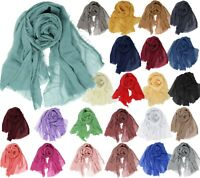 Linen Feel Large Plain Solid Travel Shawl Scarf
