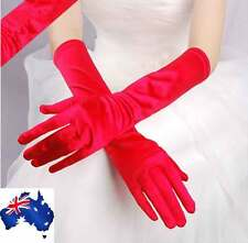 New Satin Long Gloves Opera Wedding Bridal Evening Party Prom Costume Gloves Red