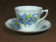 Royal Dover Bone China Forget-me-not Cup and Saucer Gold Trim Blue Flowers