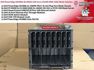 Dell PowerEdge M1000e 8x M620 128-Cores 512GB RAM 1GbE Blade Solution