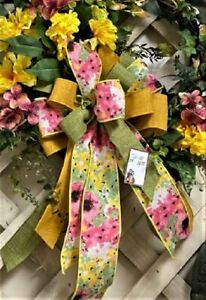 WIRED BOW for FLORAL DOOR WREATH SWAG GARLAND MAIL FENCE POST # 181 rb