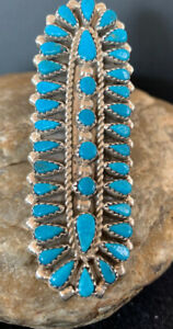 Navajo NativeAmerican Sterling Silver Blue Cluster Turquoise Needlepoint Ring506