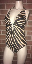 Nwt Roxanne Bra Sized Ring Halter Mio One-Piece Swimsuit Animal Print 14 38C
