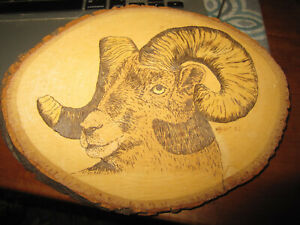 VINTAGE ARTIST SIGNED WOOD CARVING OF A MOUNTAIN GOAT OR RAM DATED 1982