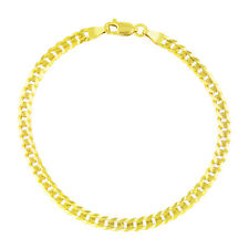 "14K Yellow Gold 3.5mm Women Curb Cuban Chain Link Bracelet Anklet Chain 7"" 8"" 9"""