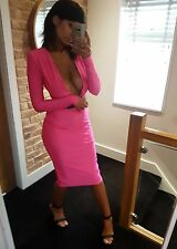 Sexy Hot Pink Silky Stretchy Ultra Plunging Long Sleeve Body Con Dress! Size 10