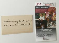 Willis Van Devanter Signed Autographed 2.25 x 4 Card JSA Certified Supreme Court