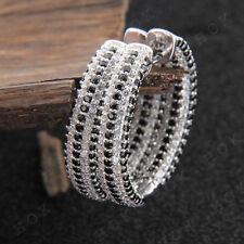 5.00 ct Black Diamond Inside Out Hoop Earrings 14k White Gold Over For Women's