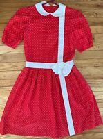 Vintage Red White Heart Polka Dotted Valentines Girl Handmade 80's Dress
