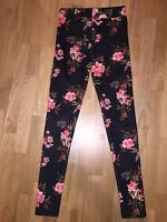 Primark A/W High Waisted Black With Floral Design Size 8 Stretch Legging Pants