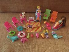 Polly Pocket Beach Pool Party Swimming Lot Dolls Swimsuits Accessories P70