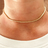 3.7 ctw Natural Diamond (G-H, SI) 14k Yellow Gold Thin Tennis Necklace 14 Inches