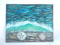 "Original Acrylic Painting 8""x10"" Canvas Panel, Seashells Beach Wave Seascape Art"