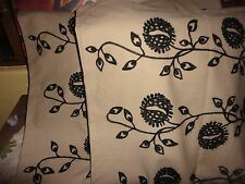 IKEA ALVINE FRO EMBROIDERED BLACK TAN FLORAL (PA) EURO PILLOW SHAMS 100% COTTON""