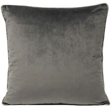 Large Velvet Feel Cushion Cover Charcoal Grey with Dove Grey Piped Edge