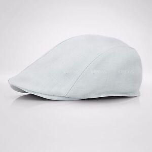 Summer Plain Linen Newsboy Gatsby Cap Ivy Hat Golf Driver Mens Flat Cabbie